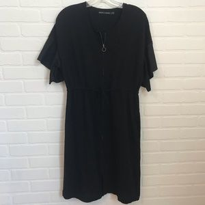 Gudrun Sjoden Dress Sz S Black Zip Front Short Slv